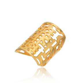 Silver 22k Gold Plated Adjustable Vintage Ring Wholesale 925 Silver Jewelry