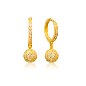 Gold Plated Delicate Round Earrings Turkish Wholesale 925 Sterling Silver Jewelry