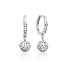 Silver Delicate Round Earrings Turkish Wholesale 925 Sterling Silver Jewelry