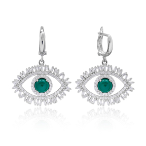 Evil Eye Baguette Zircon Handmade Sterling Silver  Wholesale Handcrafted Dangle Earring