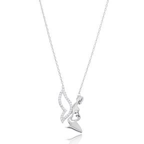 Mother In Angel Design Pendant In Turkish Wholesale 925 Sterling Silver