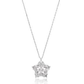 Star Design Baguette Shape Stone Silver Pendant Wholesale Sterling Silver Jewelry