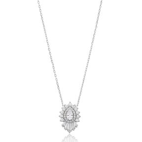 Baguette Shape Stone Silver Pendant Wholesale Sterling Silver Jewelry