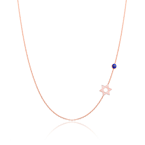 David Star With Evil Eye  Sideway Initial Necklace Wholesale Turkish 925 Sterling Silver Jewelry