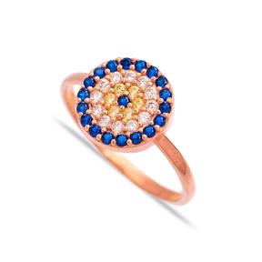 Evil Eye Design Round Turkish Wholesale Handcrafted Infinite Silver Ring