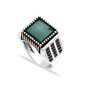 Green Agate Authentic Men Ring Wholesale Handmade 925 Sterling Silver