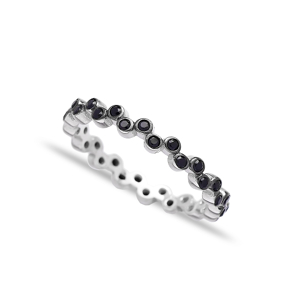 Pave Band Black Zircon Beaded Ring Wholesale Handcrafted 925 Sterling Silver Ring