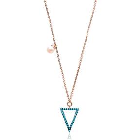 Nano Turquoise Minimalist Turkish Wholesale Silver Triangle Design Pendant