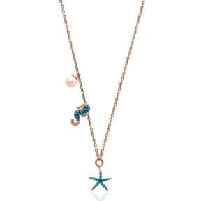 Nano Turquoise Minimalist Turkish Wholesale Silver SeaHorse With Starfish Pendant