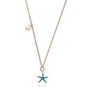 Nano Turquoise Minimalist Turkish Wholesale Silver Starfish Pendant