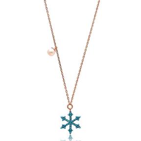 Nano Turquoise Minimalist Turkish Wholesale Silver Snowflake Pendant