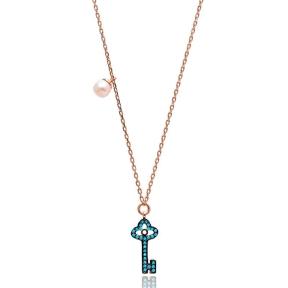 Nano Turquoise Minimalist Turkish Wholesale Silver Key Design Pendant