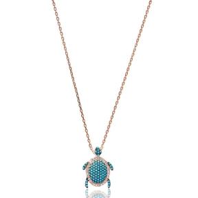 Nano Turquoise Minimalist Turkish Wholesale Silver Sterling Turtle Pendant