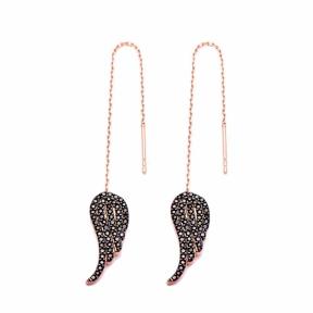 Sterling Silver Ear Thread Wing Earrings Turkish Wholesale Sterling Silver Chain Earring