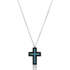 Turkish Wholesale 925 Silver Sterling Nano Tuqruoise Cross Pendant