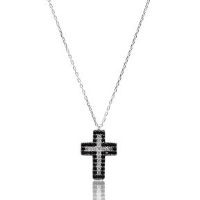 Turkish Wholesale 925 Silver Sterling Black Zircon Cross Pendant