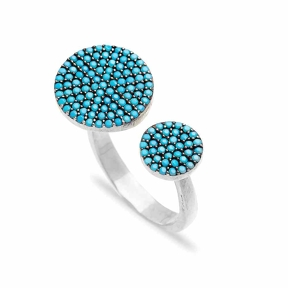 Round Fashionable Nano Turquoise Ring Wholesale Handcrafted Silver Jewelry